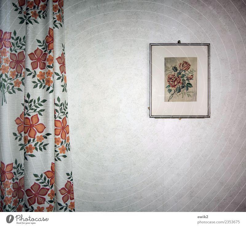 Blumig Blume Wand Kunst Mauer Häusliches Leben retro Rose Gemälde Bild hängen Vorhang Schlafzimmer