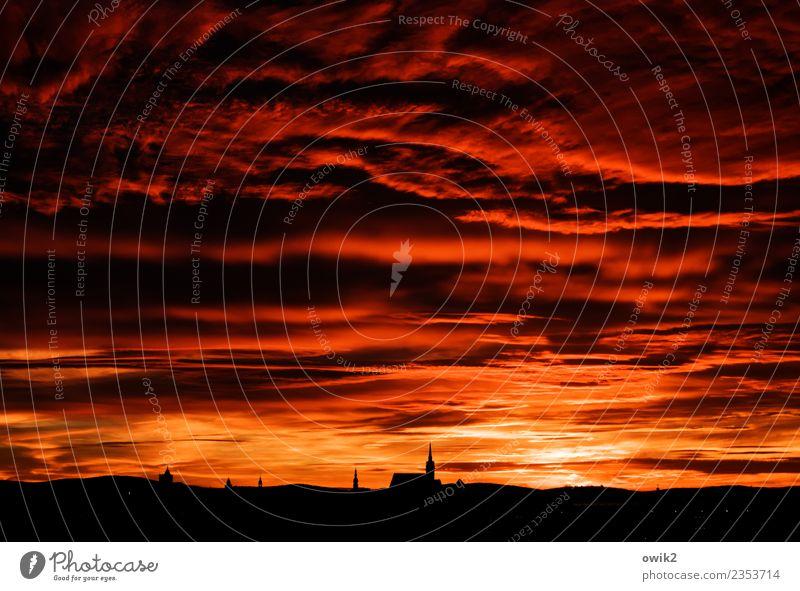 Hernach Landschaft Himmel Wolken Horizont Bautzen Deutschland Lausitz Kleinstadt Stadtzentrum Skyline Kirche Dom leuchten außergewöhnlich gigantisch glänzend