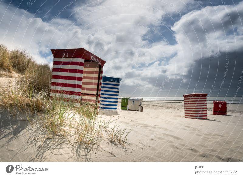 Gestreifter Sommer Ferien & Urlaub & Reisen Tourismus Freiheit Sommerurlaub Sonne Sonnenbad Strand Meer Insel Natur Landschaft Sand Himmel Wolken Sonnenlicht