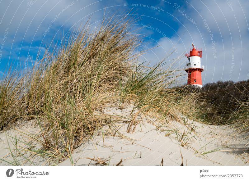 Leuchtturm Himmel Natur Ferien & Urlaub & Reisen Sommer blau Landschaft Sonne Meer rot Wolken Ferne Strand Küste Gras Tourismus Freiheit