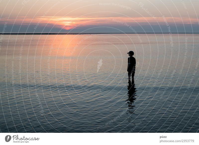 Sonnenuntergang Kind Mensch Natur Ferien & Urlaub & Reisen Sommer Wasser Landschaft Meer Ferne Strand Wärme Küste Junge Freiheit Horizont