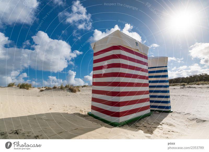 Querstreifen machen dick Himmel Natur blau Sommer Landschaft Sonne Meer Erholung Wolken ruhig Strand Wärme Küste Schwimmen & Baden Sand Zufriedenheit