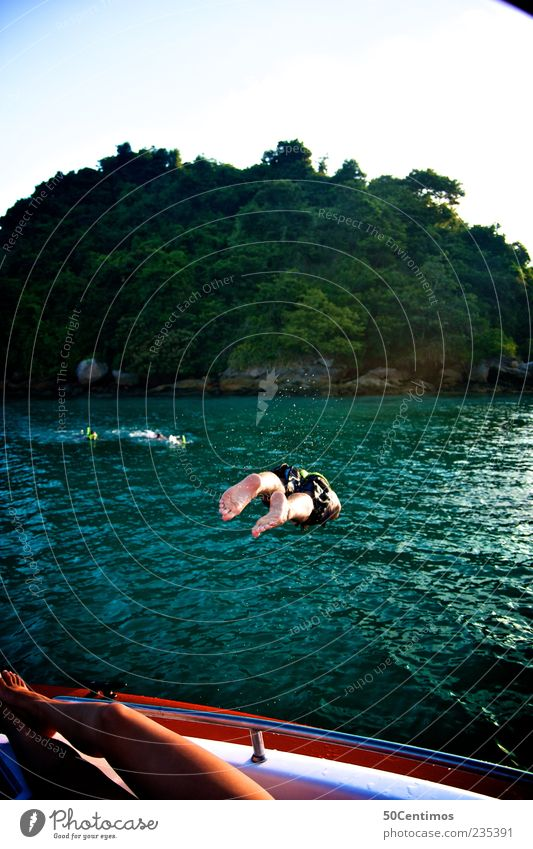 Der Sprung ins kalte Wasser - jump in the cold water Mensch Jugendliche grün Baum Ferien & Urlaub & Reisen Meer Sommer Freude Erwachsene Ferne Sport Gefühle