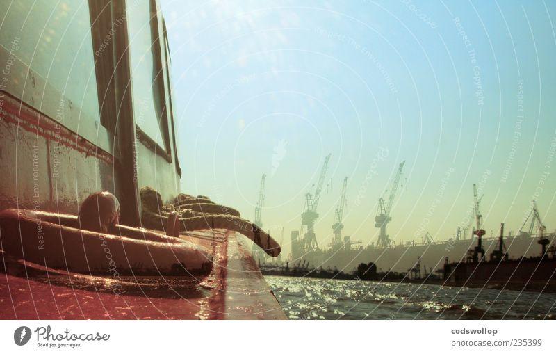 unterwegs mit Hubi Sommer träumen Wasserfahrzeug Warmherzigkeit Güterverkehr & Logistik Hamburg Hafen Schifffahrt Dienstleistungsgewerbe Doppelbelichtung Kran Wasseroberfläche Elbe Hafenstadt Schiffsdeck Ausflug