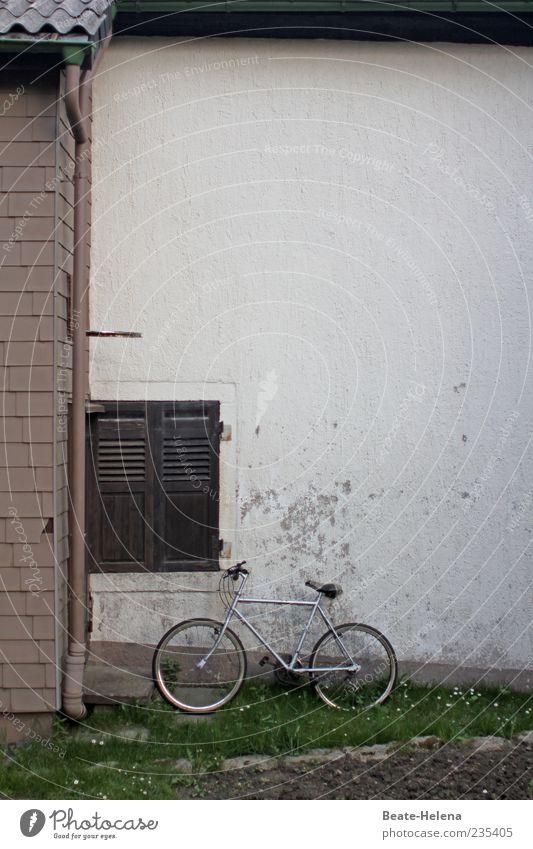 Manchmal gibt es kein Zurück alt weiß Einsamkeit Haus Leben Garten braun Fahrrad Fassade kaputt trist Suche Sehnsucht Vergangenheit Putz silber