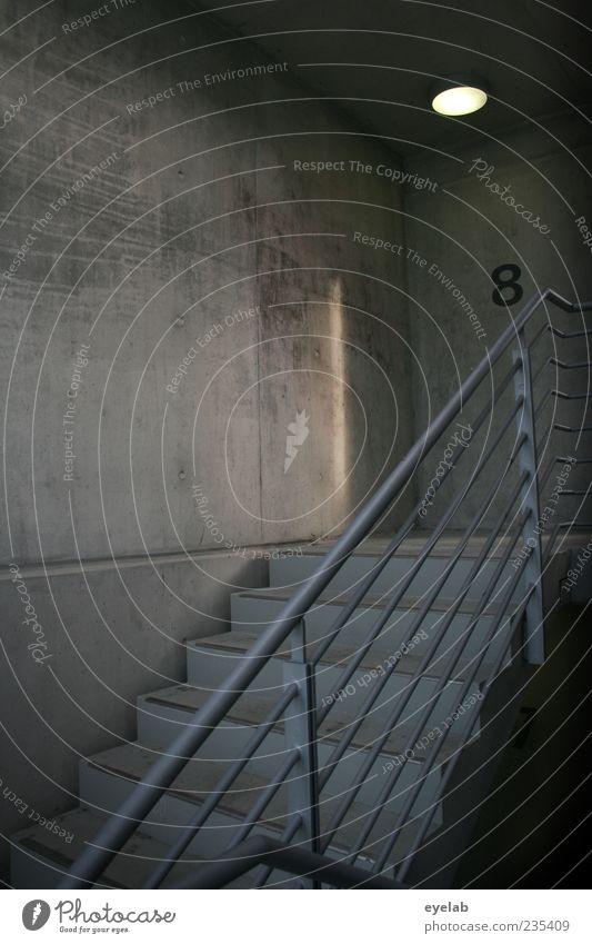 Stairway to Beton Haus dunkel kalt Wand Architektur grau Stein Mauer Gebäude Metall Lampe Fassade Treppe Ordnung Sicherheit