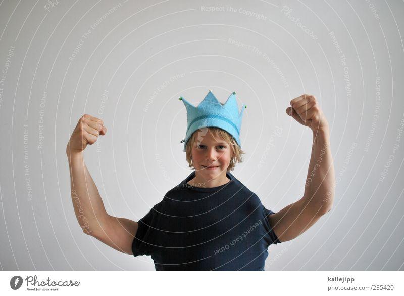 alles gute! Mensch Kind Hand Freude Erwachsene Junge Kopf Glück lustig Kraft blond Arme Erfolg planen Macht