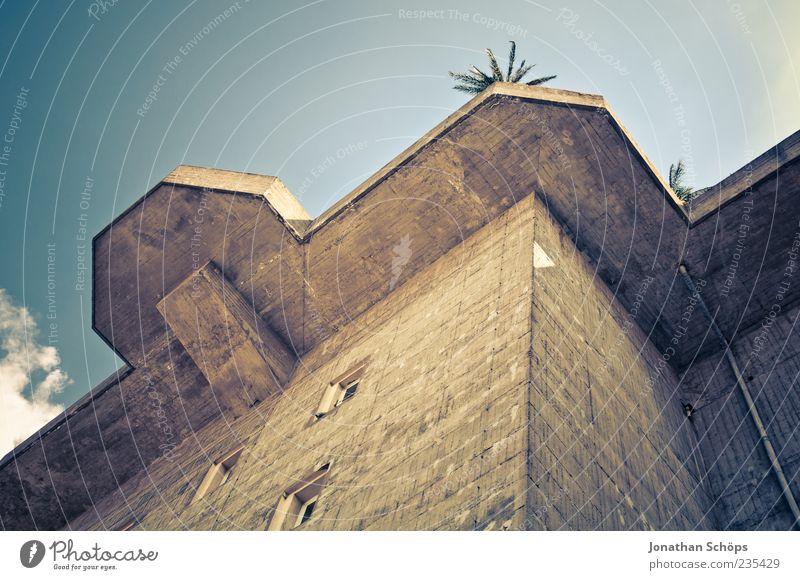 Garten auf dem Dach Himmel Pflanze exotisch Palme Bauwerk Gebäude Architektur Mauer Wand Macht Beton Betonklotz Bunker hoch kahl außergewöhnlich Sicherheit