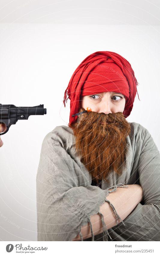 skepsis Feste & Feiern Karneval Mensch maskulin Frau Mann Bart Kopftuch Vollbart Aggression lustig rebellisch trashig 1 Attentäter Terrorist Pistole