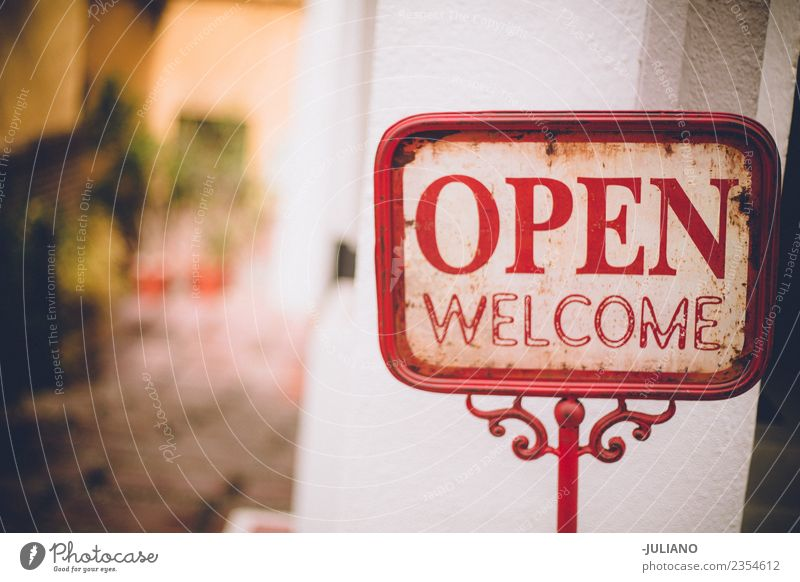 Schild öffnen offen kaufen Begrüßung Willkommen Zeichen Hallo