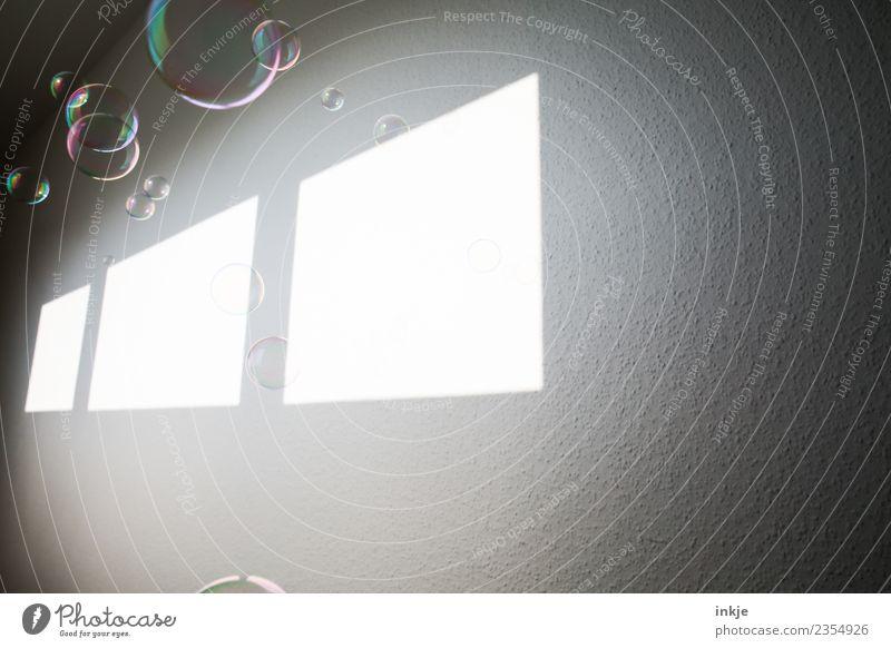 Plöppplöppplöpp Lifestyle Freizeit & Hobby Häusliches Leben Seifenblase Blase Lichtfleck Fenster Flur Linie Rechteck hell fliegen graphisch Wand Raum Farbfoto