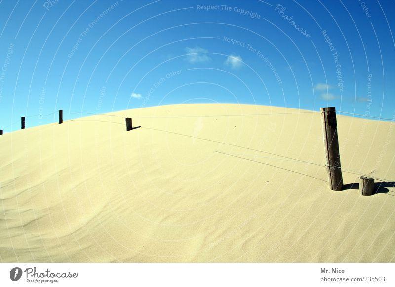 landsand Natur Landschaft Sand Sommer Klima Schönes Wetter Hügel Strand Nordsee ruhig Zufriedenheit Düne Zaunpfahl Dürre Fernweh Pfosten Sandhaufen Wärme hell