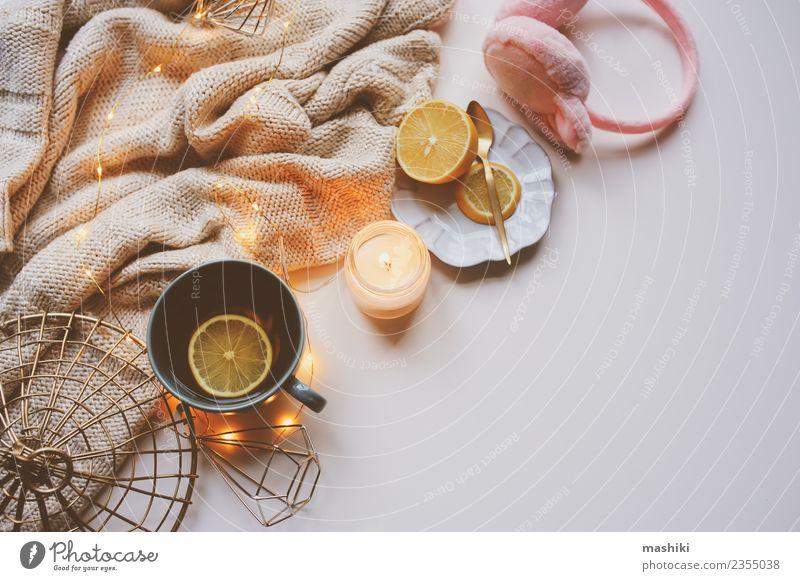 Gemütlicher Wintermorgen zu Hause Tee Erholung Dekoration & Verzierung Küche Pullover Schal Kerze heiß modern rosa weiß heimwärts gemütlich Hygge Wochenende