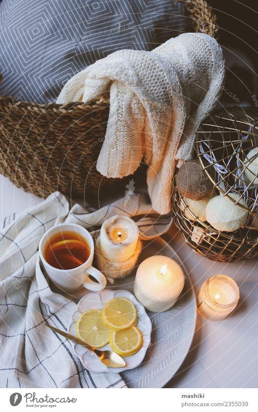 Gemütlicher Wintermorgen zu Hause Tee Löffel Design Erholung Dekoration & Verzierung Küche Wärme Pullover Kerze Metall heiß modern weiß heimwärts gemütlich