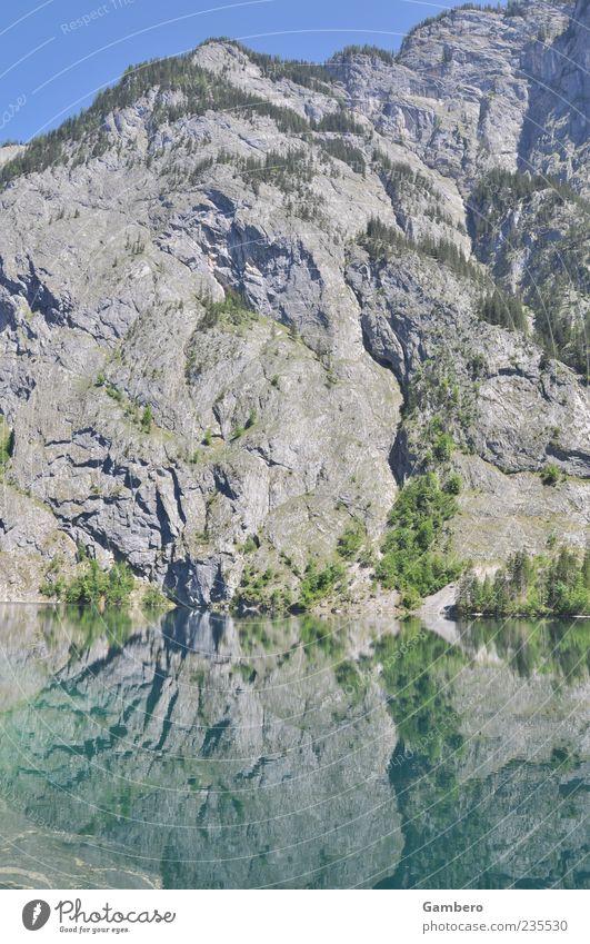 Magie der Berge Himmel Natur Wasser Baum Pflanze Landschaft Berge u. Gebirge See Felsen Idylle Alpen Schönes Wetter Gipfel Wasseroberfläche Wolkenloser Himmel Klippe