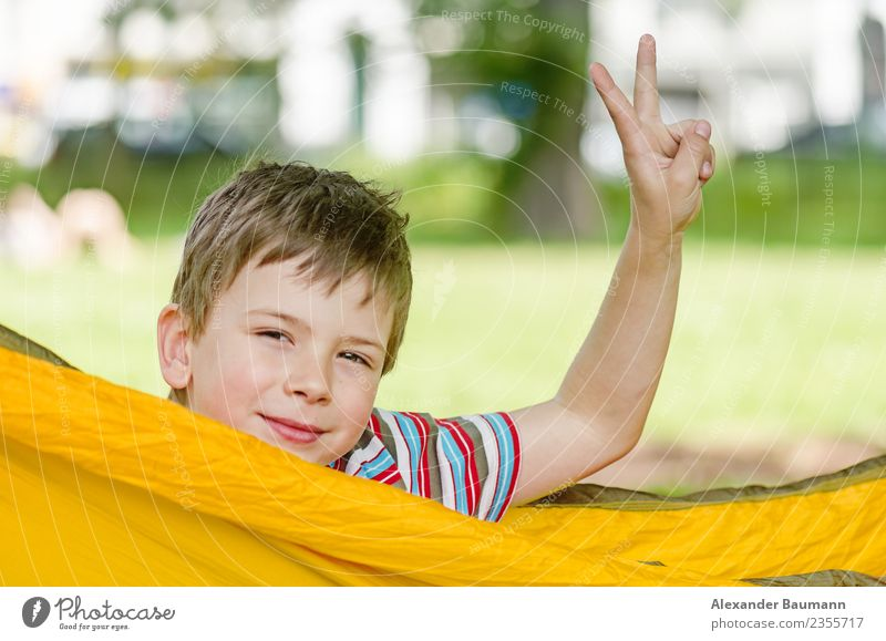 young boy in a hammock, hand raised in victory sign Freude Erfolg Kind Mensch Junge Kopf Hand 1 8-13 Jahre Kindheit Gefühle Frieden white happy child cheerful