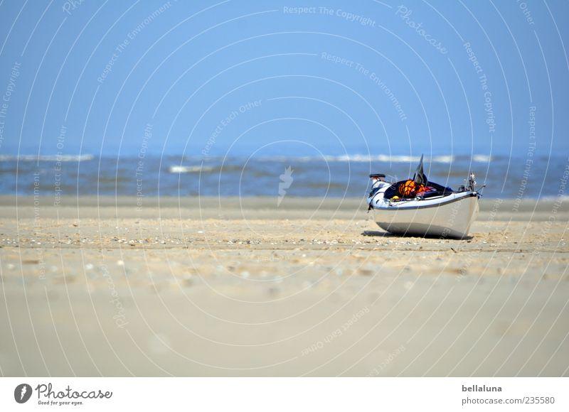 Spiekeroog | Ä Bööödsche ;-) Himmel Natur Wasser weiß schön Meer Sommer Strand Sand Küste hell Horizont Wasserfahrzeug Wellen Schönes Wetter Nordsee