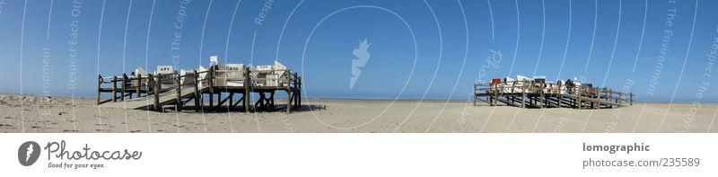 St. Peter Ording - Strandpanorama Himmel Natur Ferien & Urlaub & Reisen Sommer Erholung Landschaft Sand Küste Horizont Schönes Wetter Nordsee Strand Strandkorb Wolkenloser Himmel Sandstrand Licht