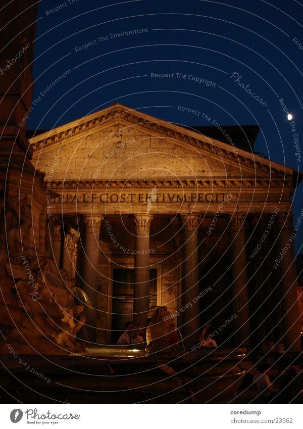 panteneon_night Gebäude Architektur Romantik Brunnen Vergangenheit historisch Säule Rom Lichtkegel Sommernacht