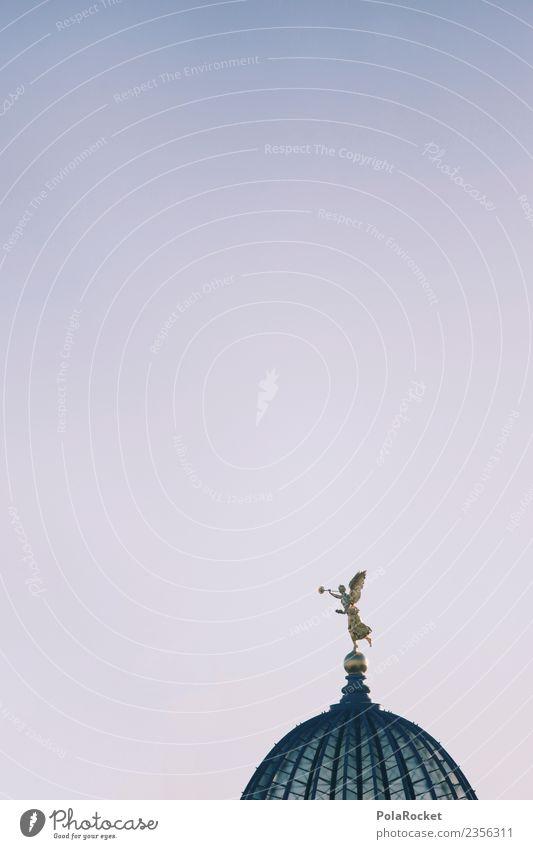 #A# Dresdner Engelshaube Kunst ästhetisch Engelstrompete Dresden Statue Sehenswürdigkeit Altstadt Sachsen Farbfoto Gedeckte Farben Außenaufnahme Detailaufnahme