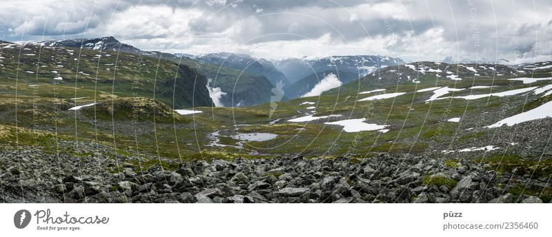 Norwegen Umwelt Natur Landschaft Luft Horizont Wetter Moos Felsen Berge u. Gebirge Gipfel Schneebedeckte Gipfel Schlucht Hochebene Norwegenurlaub Menschenleer