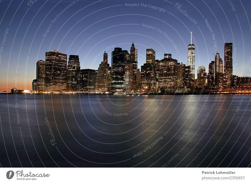 New York Südspitze Ferien & Urlaub & Reisen Tourismus Sightseeing Städtereise Arbeitsplatz Büro Umwelt Wasser Wolkenloser Himmel Nachthimmel Sommer Fluss