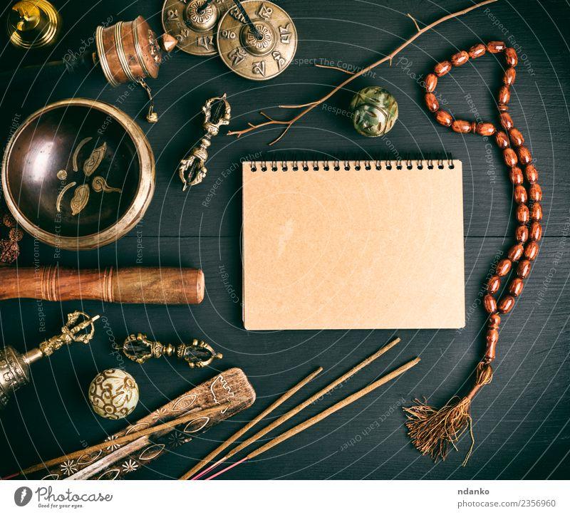 Asiatische religiöse Musikinstrumente Behandlung Alternativmedizin Medikament Meditation Yoga Papier Stein Holz alt oben retro braun schwarz Erholung