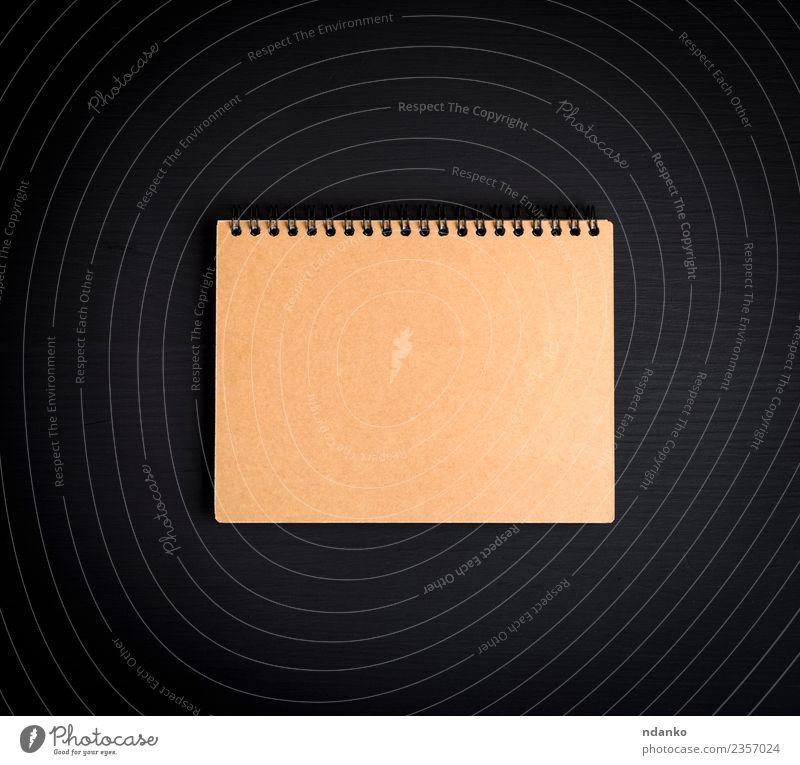 Notizblock mit braunen Blättern Tisch Schule Business Buch Papier schwarz Idee Notebook Top Aussicht Hintergrund blanko Notizbuch Entwurf Raum Hinweis Tagebuch
