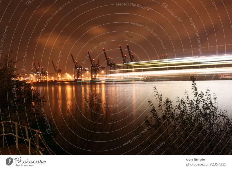 Harbour Lights Arbeitsplatz Wirtschaft Güterverkehr & Logistik Kran Sommer Flussufer Elbe Hamburg Hafenstadt Binnenschifffahrt Ferne gigantisch groß Stadt