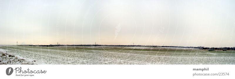grüne Winterlandschaft Himmel weiß grün Winter Schnee Feld groß Panorama (Bildformat) bedecken Niedersachsen Braunschweig Wolfenbüttel