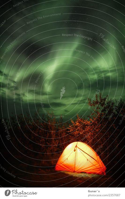 Magisches Himmelszelt Ferien & Urlaub & Reisen Abenteuer Ferne Freiheit Camping wandern Zelt Geophysik Landschaft Urelemente Nachthimmel Stern Nordlicht Island