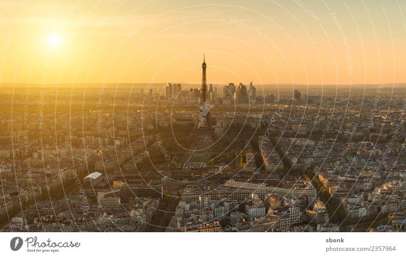 Paris Sonnenuntergang Ferien & Urlaub & Reisen Sommer Skyline Tour d'Eiffel Liebe Eiffel Tower France Urban Großstadt Architecture Tourism french cityscape view