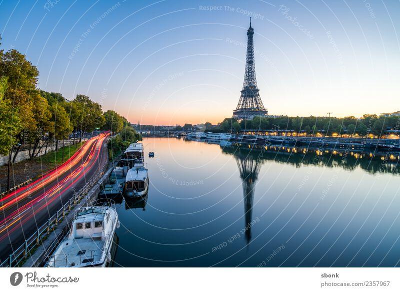 Paris am Morgen Ferien & Urlaub & Reisen Sommer Stadt Liebe Skyline Frankreich Großstadt Tour d'Eiffel