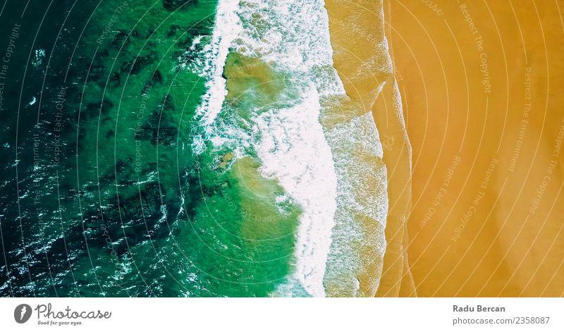Luftbild Panoramadrohne Blick auf den Ozean in Portugal Umwelt Natur Landschaft Sand Wasser Sommer Wetter Schönes Wetter Wärme Wellen Küste Strand Bucht Meer