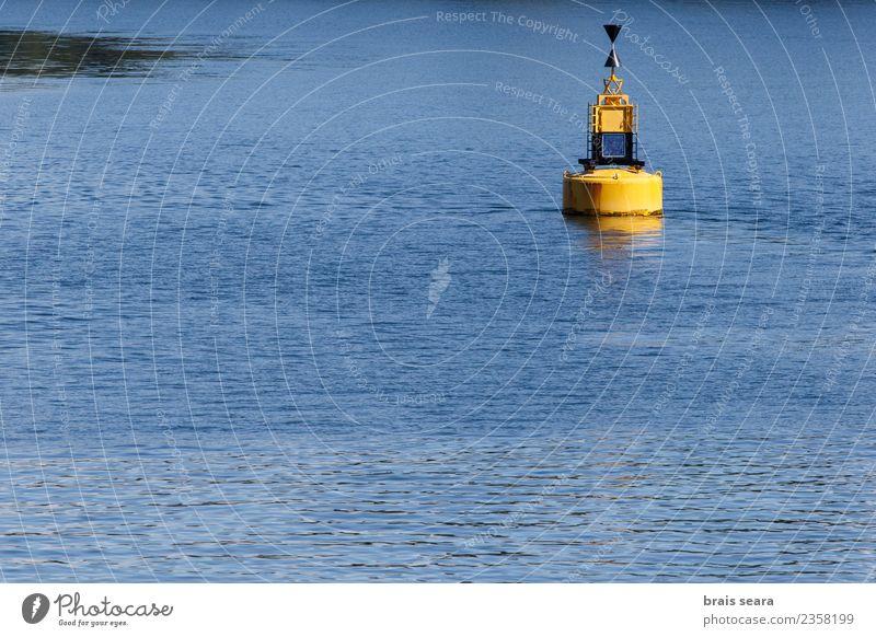 Natur Ferien & Urlaub & Reisen blau Wasser Meer gelb Küste Wasserfahrzeug Verkehr Wellen Insel Hinweisschild Klima Zeichen Grafik u. Illustration Sicherheit