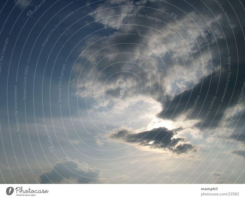 Sonne und Wolken am frühen Abend weiß grau Regen Licht Gegenlicht Himmel blau Beleuchtung x