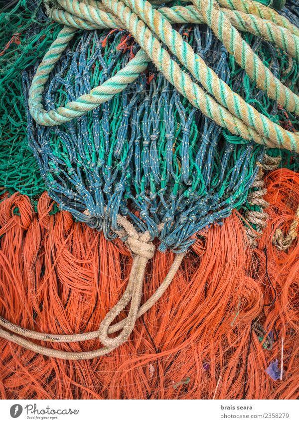 Fischernetze Arbeit & Erwerbstätigkeit Arbeitsplatz Seil Schifffahrt Fischerboot Netz blau orange Schnur Stapel Trocknung Gerät Hintergründe Entwurf Fischen
