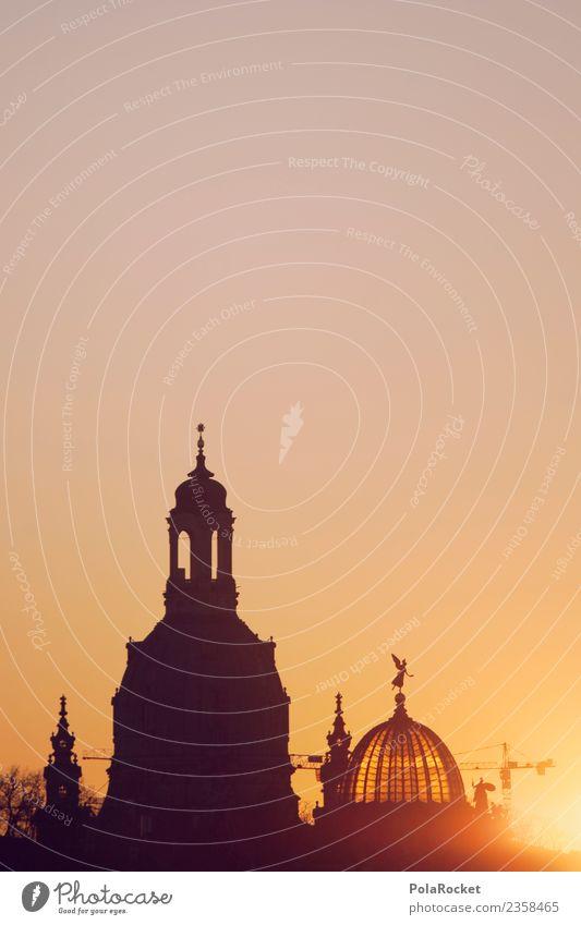 #A# Dresdner Gold Kunst ästhetisch Dresden Sachsen Skyline Frauenkirche Sonnenuntergang Barock Kuppeldach Himmel himmelwärts himmelblau Kirche Religion & Glaube