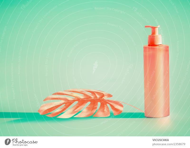 Rosa Kosmetik Flasche mit tropischem Blatt Stil Design schön Körperpflege Creme Gesundheit Ferien & Urlaub & Reisen Sommer Strand trendy rosa türkis