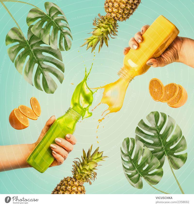 Erfrischende Sommer Getränke Erfrischungsgetränk Limonade Saft Stil Design Gesundheit Gesunde Ernährung Ferien & Urlaub & Reisen feminin Hand gelb rosa Flasche