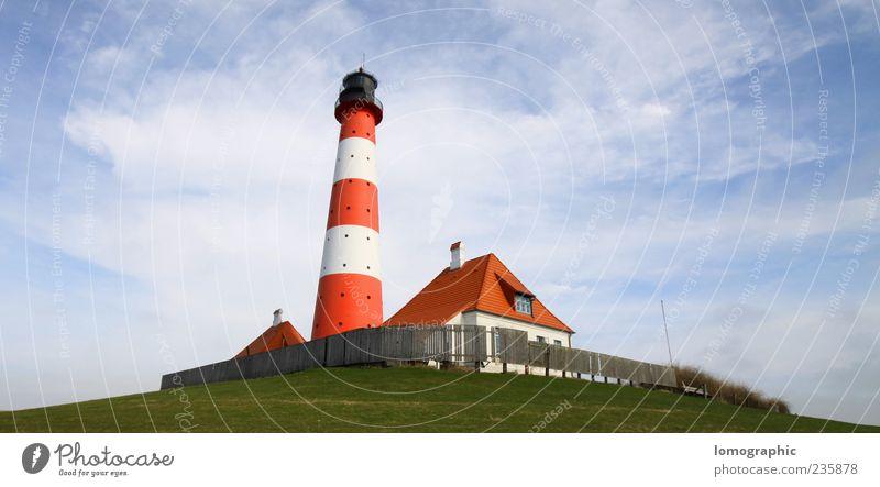 Leuchtturm Westerhever Sand Himmel weiß Ferien & Urlaub & Reisen rot Sommer Wolken Landschaft Küste Ausflug Tourismus Schleswig-Holstein Nordfriesland