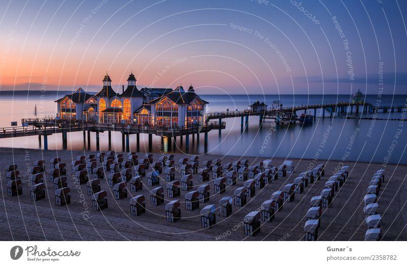 Seebrücke zur Blauen Stunde_001 Himmel Ferien & Urlaub & Reisen Sommer Wasser Sonne Meer Erholung ruhig Ferne Strand Lifestyle Frühling Tourismus Freiheit