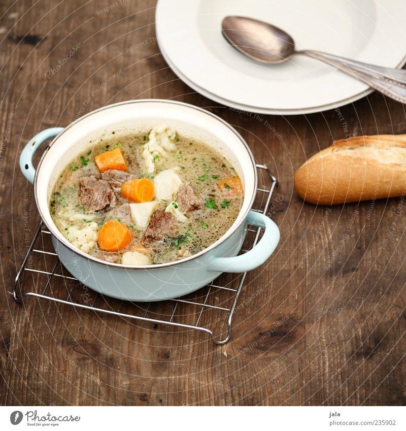 mittach! Ernährung Lebensmittel gut Gemüse Geschirr lecker Teller Brötchen Fleisch Topf Mittagessen Löffel Suppe Holztisch rustikal Backwaren