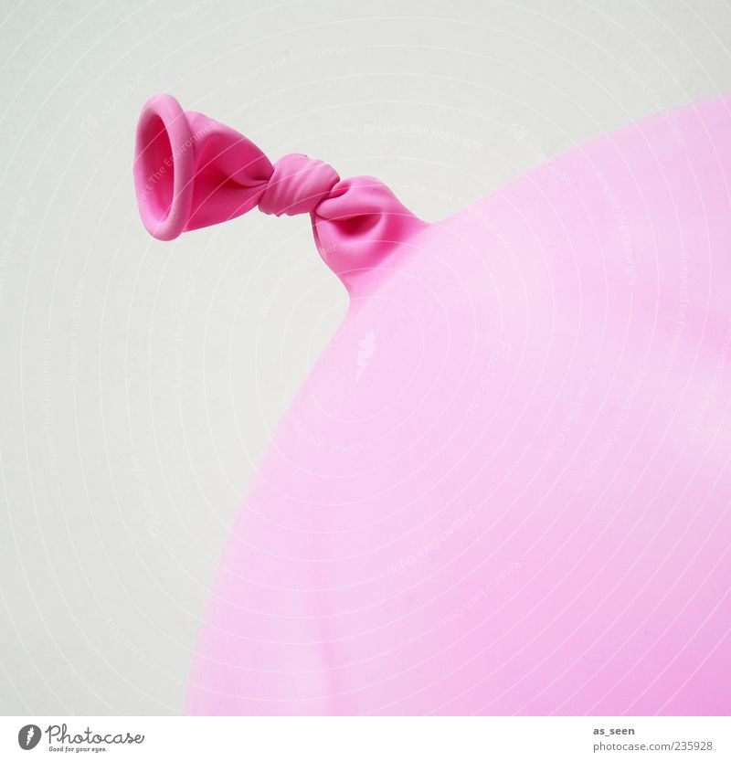 Rosa Gummi Luftballon Kunststoff Knoten rund rosa Farbfoto Innenaufnahme Nahaufnahme Detailaufnahme Menschenleer Textfreiraum rechts Hintergrund neutral Tag