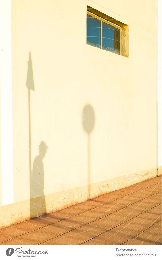 Peter wartet auf Petra Mensch Mann Haus Erwachsene Straße Fenster Wand Wege & Pfade Mauer Fassade warten Schilder & Markierungen Hinweisschild Zeichen Fußgänger