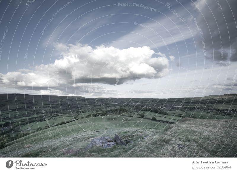 somewhere only we know Himmel weiß grün Wolken Ferne Landschaft Horizont Wind natürlich Hügel Schönes Wetter England Wolkenloser Himmel Nationalpark Großbritannien Regenwolken