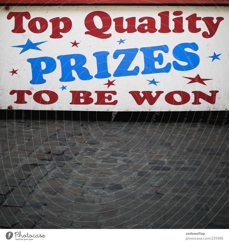 cooper black blau weiß rot Spielen Schriftzeichen Stern (Symbol) Kitsch Typographie Jahrmarkt Kopfsteinpflaster England Marktplatz Buden u. Stände Glücksspiel