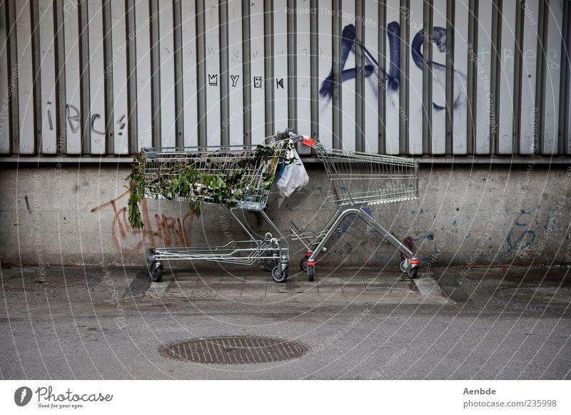 Wir müssen mal wieder einkaufen gehen ! Straße Wand Graffiti Fassade authentisch Asphalt Müll parken Tüte Einkaufswagen Wagen Schmiererei