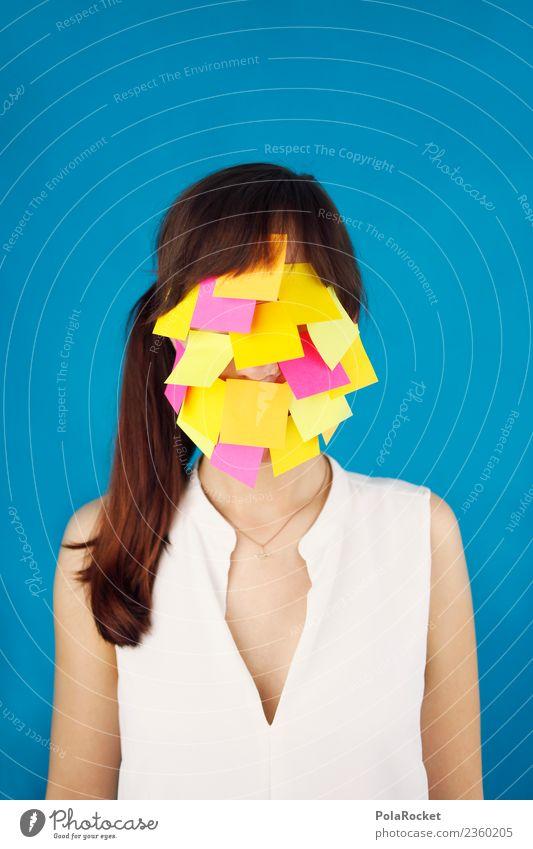 #A# Miss ToDo Frau Gesicht Kunst Denken Arbeit & Erwerbstätigkeit ästhetisch Kreativität Idee Stress Kunstwerk Gewicht ansammeln Zettel Erschöpfung Gedanke voll