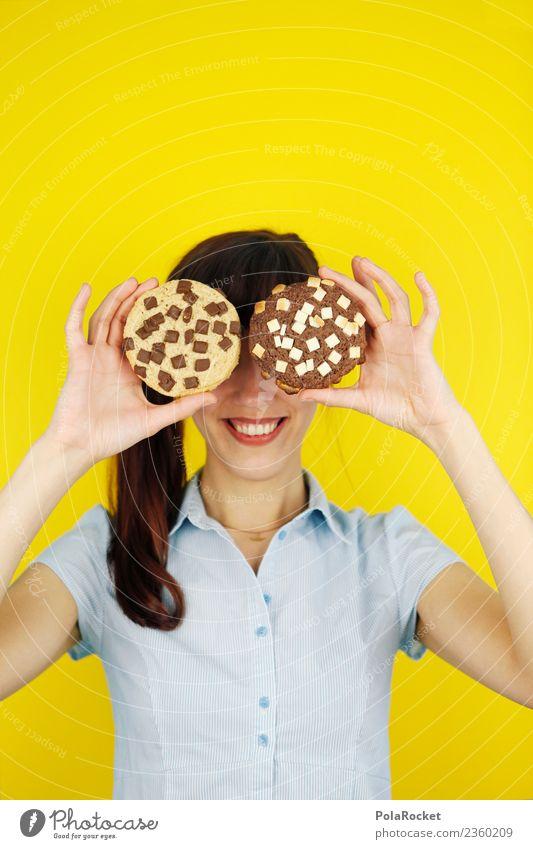 #A# Süßes Lächeln Frau Jugendliche gelb lustig Kunst Spielen Kreativität süß Jugendkultur Freundlichkeit festhalten lecker Kitsch Süßwaren Backwaren